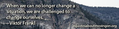 When we can no longer change a  situation, we are challenged to  change ourselves