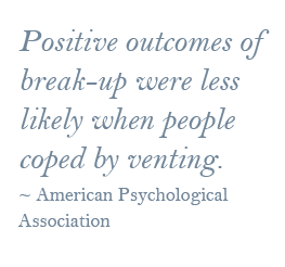 positive outcomes of breakup were less likely when people coped by venting