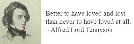 Better to have loved and lost than never to have loved at all